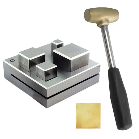 Four Plus Brass - Jumbo Square Disc Cutter - 4 Pcs 9mm T0 26 Mm Plus Brass Hammer Gold Silver Jewelry Tool