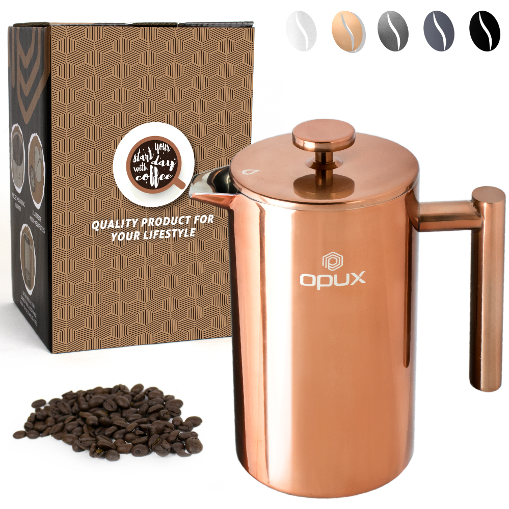 OPUX Premium Insulated Double Wall French Press   4 Cup Stainless Steel Coffee Press with 4 Layer Filtration System for Pour Over, Espresso   (34 fl oz)
