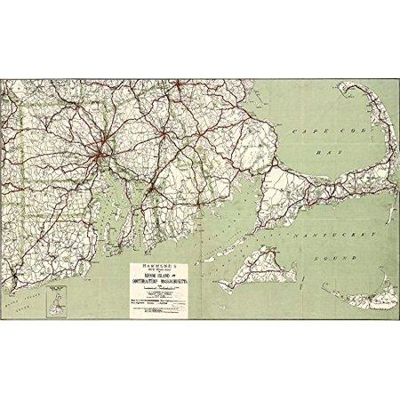 1917 Cape Cod & RI Map 16x12 Art Print Poster Wall Decor Cape Towns MA Mass  Nantucket Martha's Vineyard Rhode Island Providence Southeast Southcoast