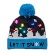 Multicolor LED Snowy Snowflake Winter Christmas Holiday Snowmen Beanie Hat