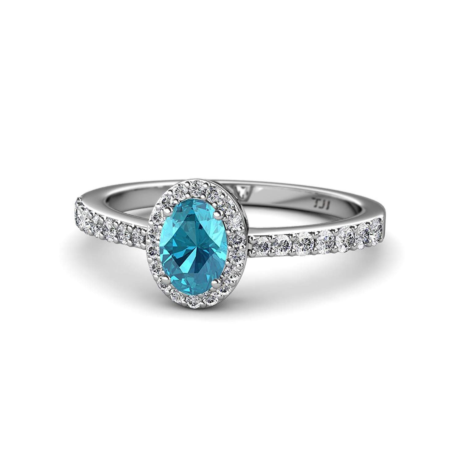 Oval 7x5mm London Blue Topaz & Diamond Halo Engagement Ring 1.38 Carat tw in 14K White Gold.size 6.0 by TriJewels