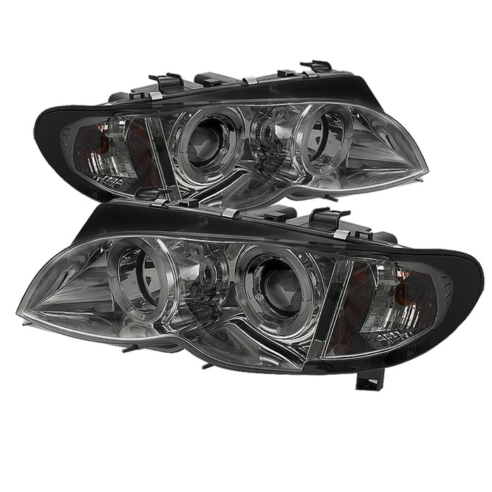 Spyder BMW E46 3-Series 02-05 4DR Projector Headlights 1PC - LED Halo - Smoke - High H1 (Included) - Low H7 (Included)