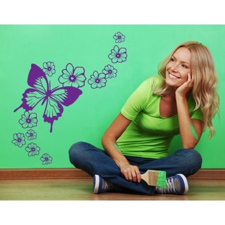Flying Butterfly with Blossom Flowers Wall Decal Wall Sticker Vinyl Wa