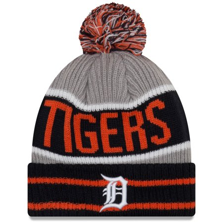 - Detroit Tigers New Era Banner Block Cuffed Knit Hat With Pom - Navy - OSFA