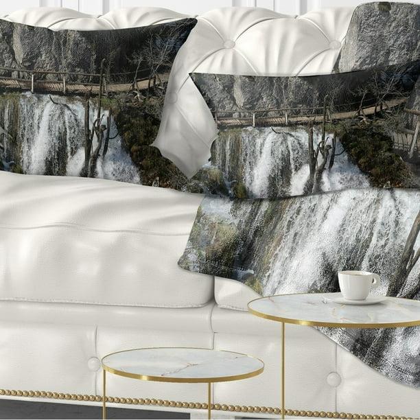 Design Art Designart Wooden Pathway In Plitvice Lakes Landscape Photography Throw Pillow Walmart Com Walmart Com