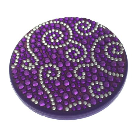 Compact Bling Beauty Cosmetics Make-Up Mirror - Purple/ Silver