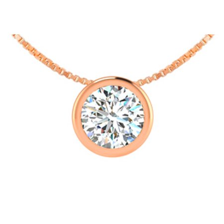 1/2 Carat Bezel Set Diamond Solitaire Necklace in 14K Rose Gold 18 (Half Bezel Set Solitaire)