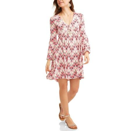 Flattering Floral Dress - Thyme and Honey Women's Floral V-Neck Dress