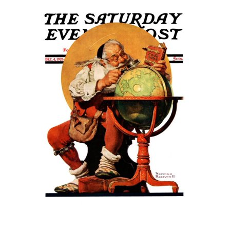 """Santa at the Globe"""" Saturday Evening Post Cover, December 4,1926"""" Print Wall Art By Norman Rockwell"""