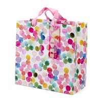 Hallmark Large Square Gift Bag for Birthdays, Bridal Showers, Baby Showers, Weddings and More (Watercolor Dots)