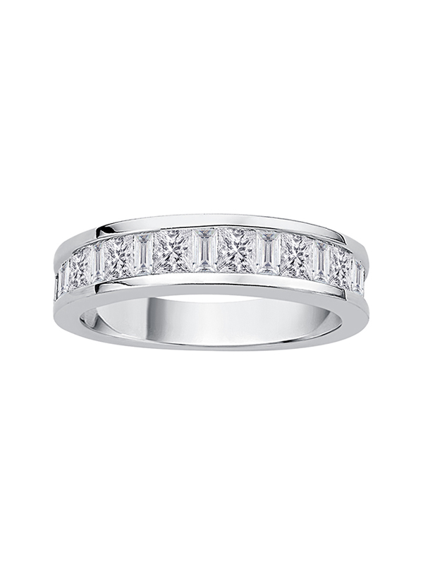 Diamond Wedding Band in 10K White Gold 1//6 cttw, Size-6 G-H,I2-I3