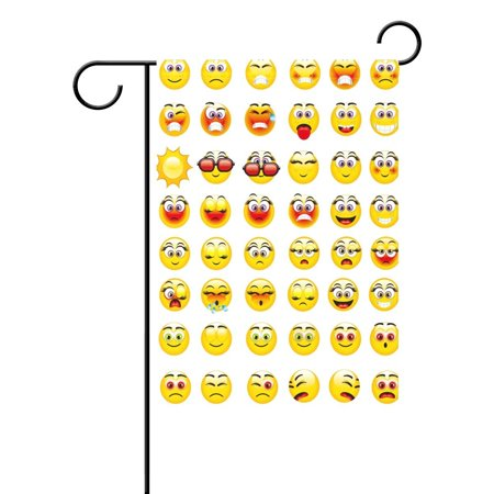 POPCreation Emoticon Expression Smiley Garden Flag Emoji Outdoor Flag Home Party 28x40 inches - Checkered Flag Emoji