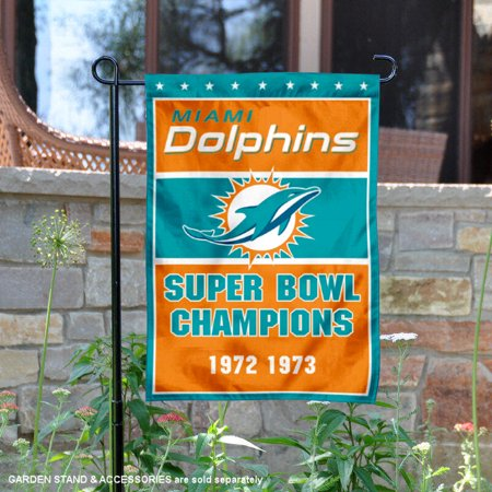 Miami Dolphins 2 Time Super Bowl Champions 12 5   X 18   Large Nfl Garden Flag