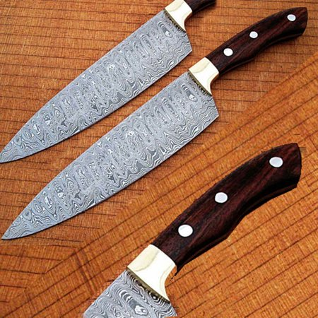 Rose Point Bar Knife - Damascus Chef Knife Rose Wood Handle with Rain-Drop Pattern