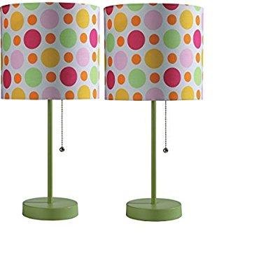 SH Lighting 8312G-GN Finished Pull Lamp with Multi Colored Polka Dot Shade, 18.5