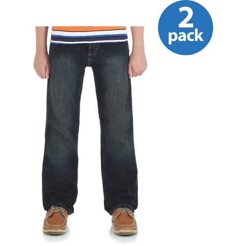 Wrangler Husky Boys' Classic Straight Leg Jeans, 2 Pack Your Choice