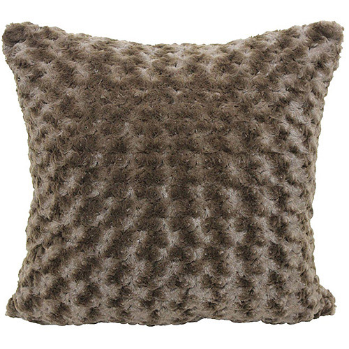 Better Homes and Gardens Rosette Fur Decorative Pillow, Chocolate