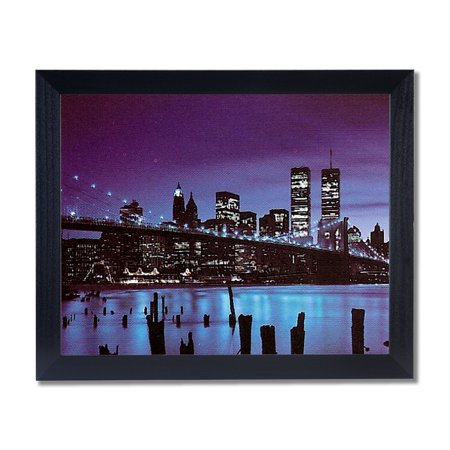 New York City Skyline And Bridge At Night Wall Picture Black Framed Art Print