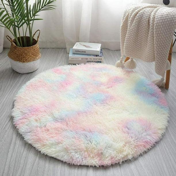 Yinrunx Faux Fur Circle Rug Rainbow, Bathroom Accent Rugs