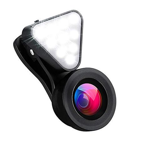 Phone Camera Lens with Selfie Ring Light, 0.4X-0.6X Wide Angle Lens &15X Macro Lens, Rechargeable Selfie Light Ring with 3 Adjustable Brightness for Photography Compatible with iPhone Android
