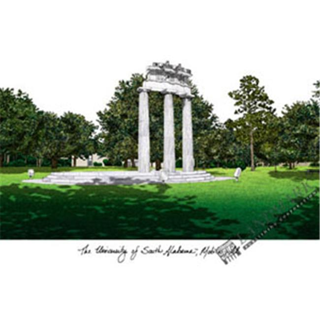 University of South Alabama Campus Images Lithograph Print