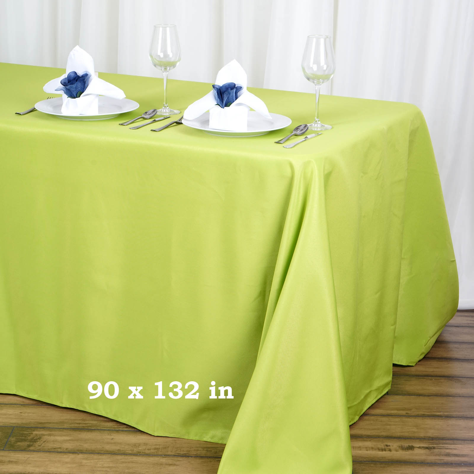 "BalsaCircle 90"" x 132"" Rectangular Polyester Tablecloth for Party Wedding Reception Catering Dining Home Table Linens"