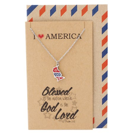 Quan Jewelry - Quan Jewelry American Flag Lapel Pin Pendant Necklace, Patriotic Jewelry for Women, 4th of July Necklace, Personalized Gifts with Religious ...