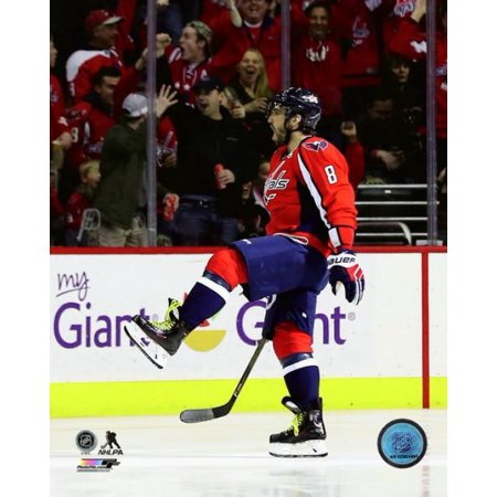 Alex Ovechkin celebrates his 1000th career NHL point against the Pittsburgh Penguins at Verizon Center on January 11 2017 in Washington DC Photo Print for $<!---->