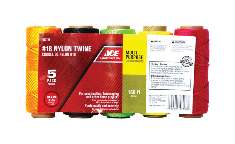 Ace 18 in. Dia. x 160 ft. L Twisted Nylon Twine Assorted by ACE