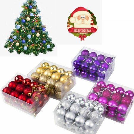 24Pcs Large Christmas Decor Baubles Tree Xmas Balls Party Wedding Ornament White ()