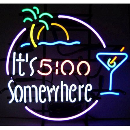 Neonetics bar game room 39 39 it 39 s 5 o 39 clock somewhere for Room decor neon signs