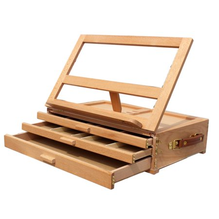 """Ktaxon 16"""" x 11"""" Kids 3 Drawers Folding Portable Artist Wooden Table Top Easel with Sketch Box, Desk Top Display Drawing Board, for Students Studio Home Painting & Sketching"""