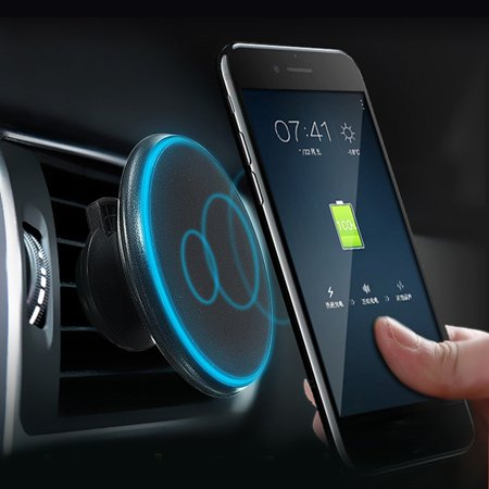 Magnetic Car Qi Wireless Charger Air Vent Mount Phone Holder Stand For iPhone X 8 Plus 8, Samsung Galaxy S8 Plus S8, S7 Edge S7, S6 Edge S6, Note 8 5 and Other Qi-enabled