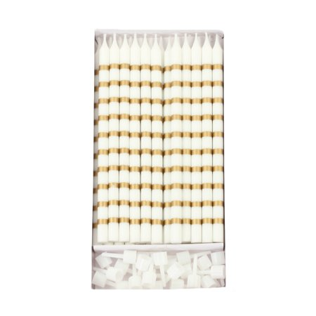 Striped Cake Candles (Koyal Wholesale Birthday Candles Gold Striped, Includes Candle Holders, 24-Pack Long Unscented Candles,Tall Cake Candles)