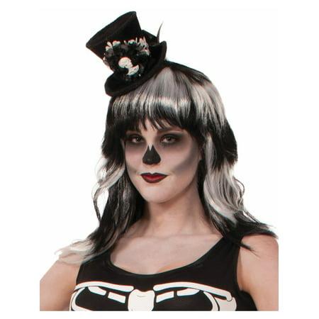 Womens White Black Bone Collection Skeleton Mini Micro Top Hat for $<!---->