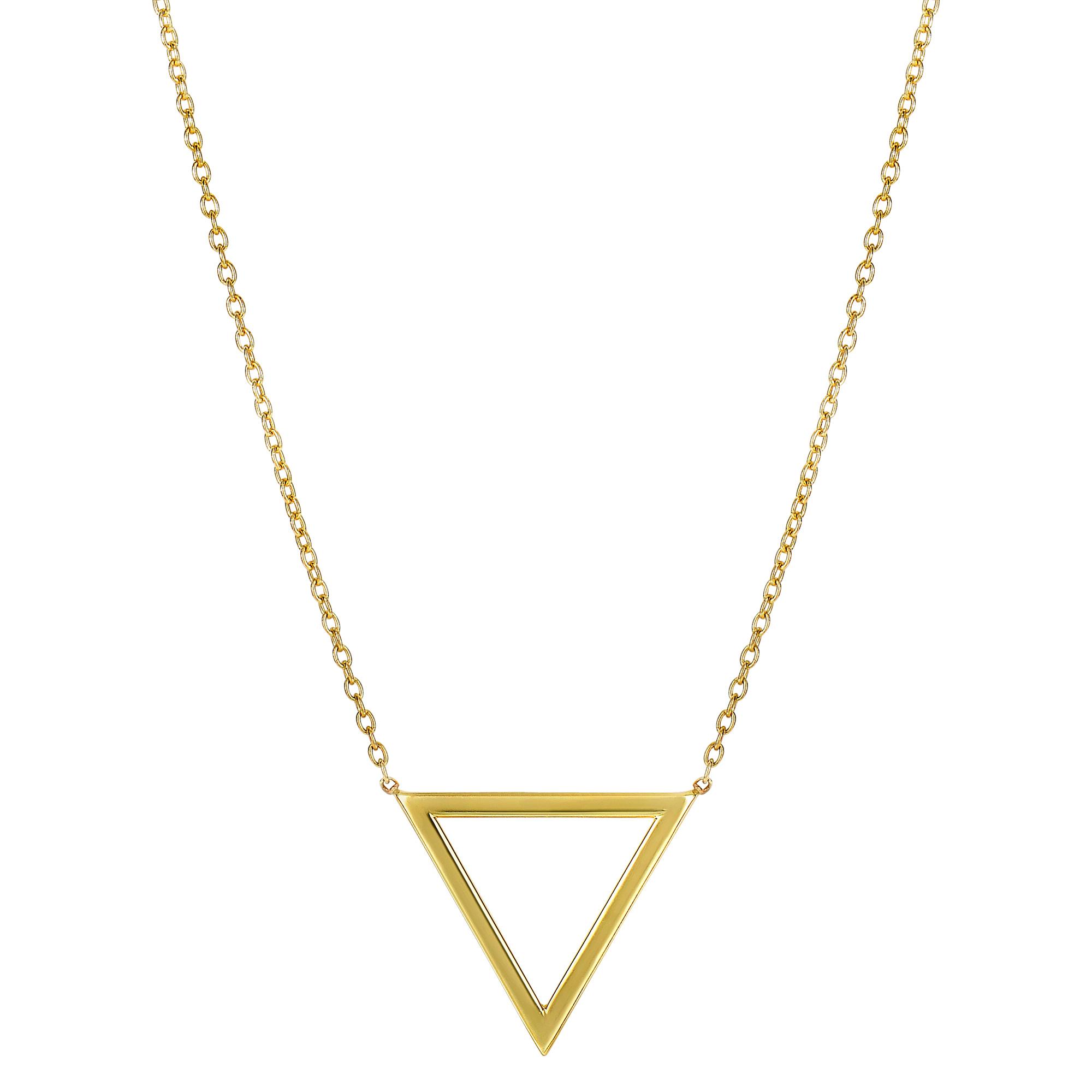 "JewelryAffairs 14k Yellow Gold Triangle Delta Symbol Pendant On 18"" Necklace by JewelryAffairs"