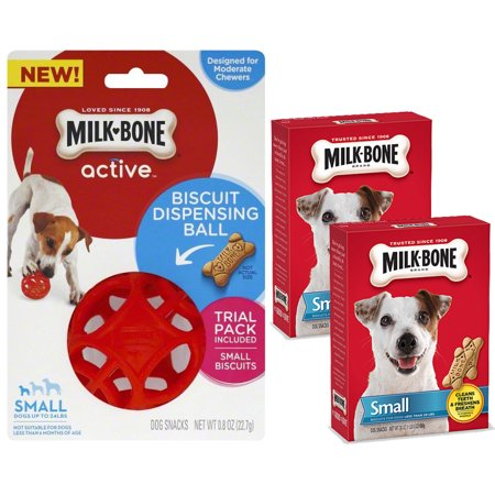 Bundle & Save! Milk-Bone Active Biscuit Dispensing Ball for Small Dogs + (2) Milk-Bone Treats Special Valentines Bundle - Valentine Dog