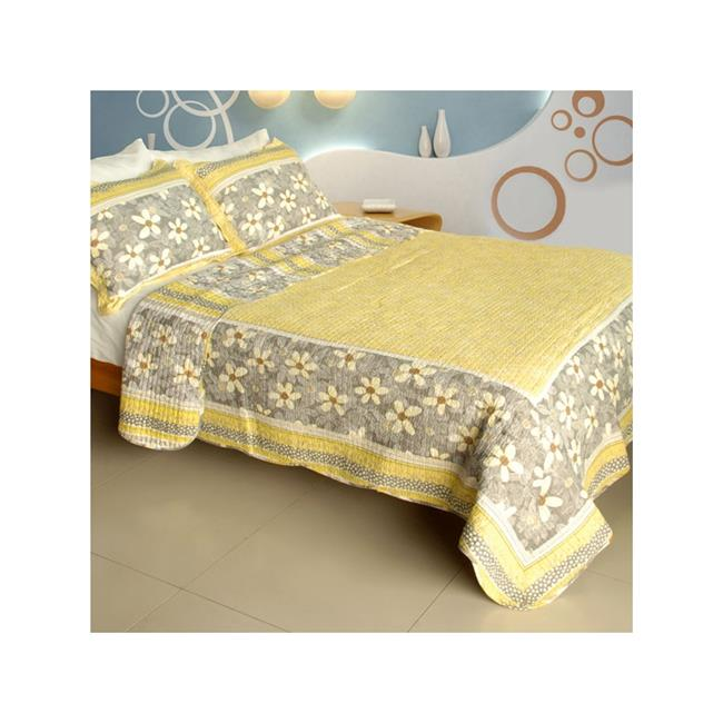 WB8032-23 Gentle Protection - 100 Percent Cotton  3 Pieces Vermicelli-Quilted Patchwork Quilt Set  Full & Queen Size - Yellow - image 1 of 1