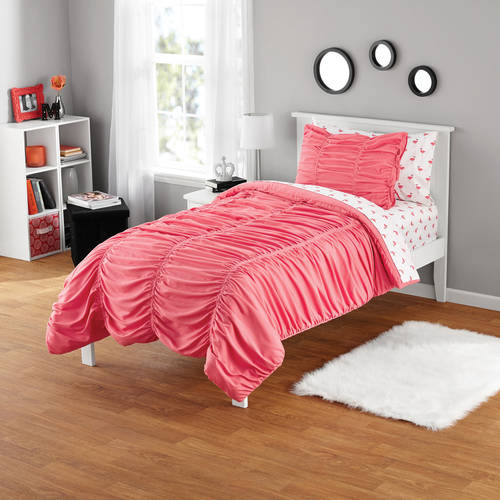 Your Zone Ruched Polyester Microfiber Mini Comforter Set