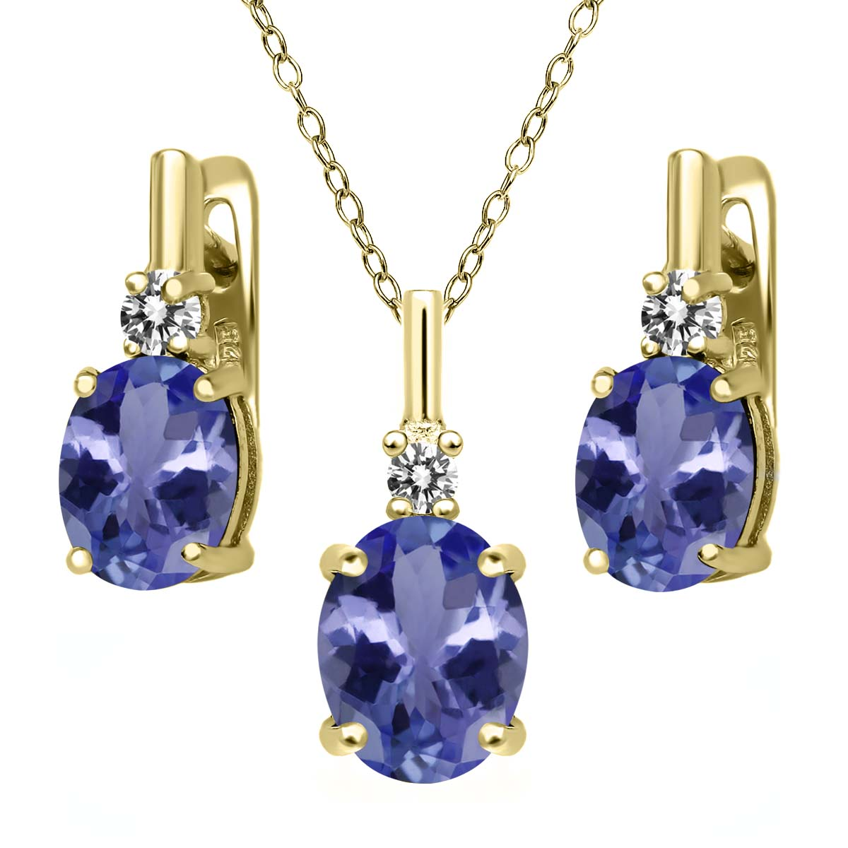 5.17 Ct Blue Tanzanite AAAA White Diamond 18K Yellow Gold Plated Silver Pendant Earrings Set by