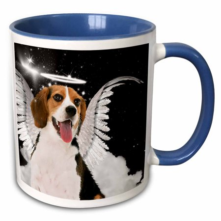 3dRose Beagle Angel Dog with clouds, a cute Halo and Angel Wings - Two Tone Blue Mug, 11-ounce - Dogs With Wigs