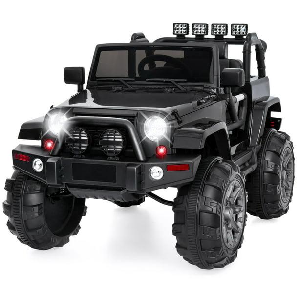 Best Choice Products 12v Kids Ride On Truck Car W Remote Control 3 Speeds Spring Suspension Led Lights Aux Black Walmart Com Walmart Com