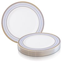 "Disposable Plastic 10.25"" Dinner Plates Chords Design (120 plates)"