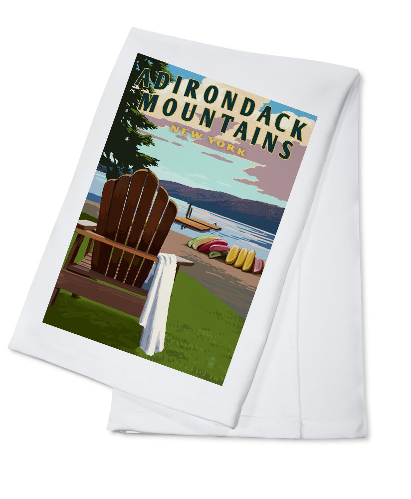 Adirondack Mountains, New York Adirondack Chair & Lake Lantern Press Artwork (100% Cotton Kitchen Towel) by Lantern Press
