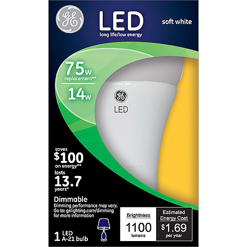 GE 75-Watt Equivalent Soft White A19 LED Light Bulb