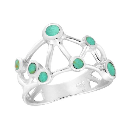 Stunning Connected Stars Synthetic Green Turquoise in Sterling Silver Ring - 8
