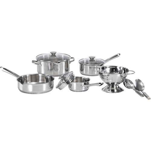 WearEver Cook and Strain 10-Piece Stainless Steel Cookware Set