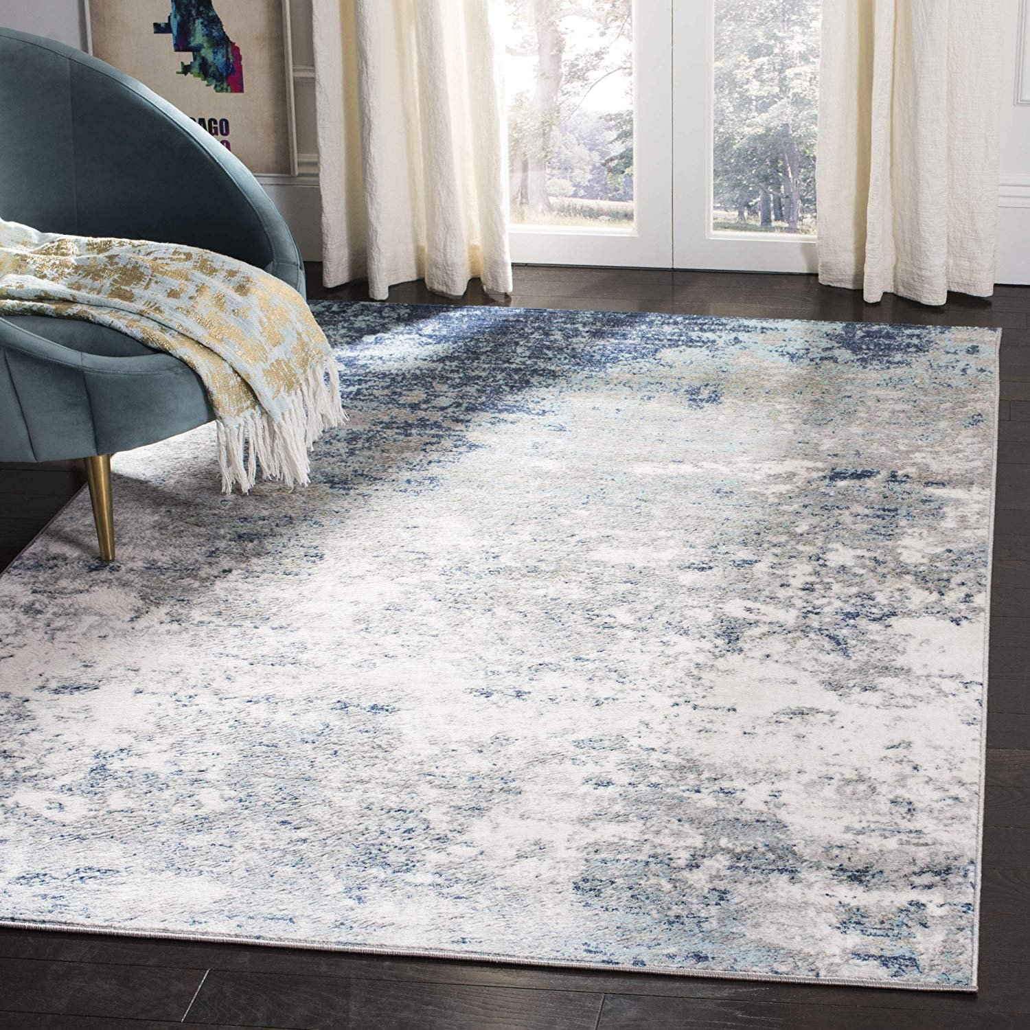 Safavieh Brentwood Collection Bnt822f Light Grey And Blue Area 3 X 5 Rug Walmart Com Walmart Com