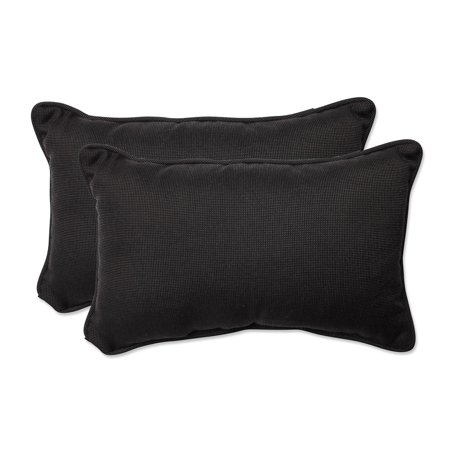 Pillow Perfect Outdoor/ Indoor Tweed Black Rectangular Throw Pillow (Set of 2) ()