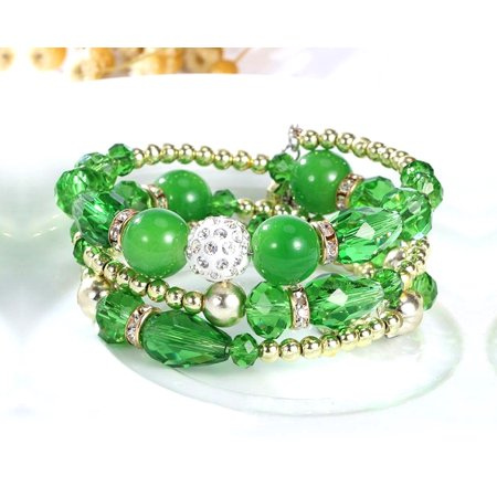 Crystal Beaded Bracelets (Novadab Multi Layered Crystal Beaded Boho Bracelet For Women)